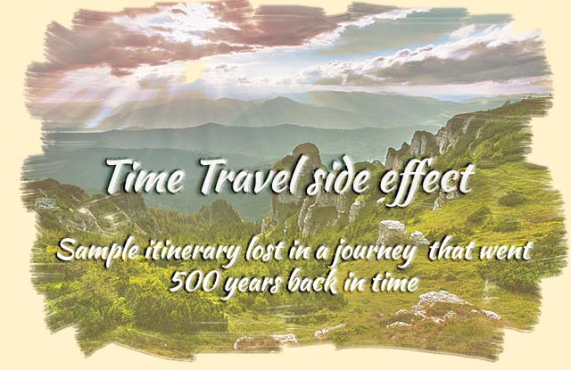 Time Travel side effect - Sample itinerary